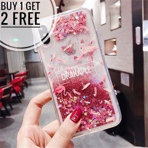 Glitter Quicksand Liquid Flamingos Phone Case